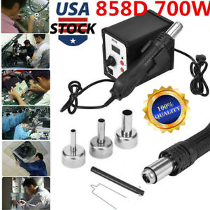858d 700w Soldering Rework Station Iron Desoldering Hot Air Gun Tool 3 Nozzles