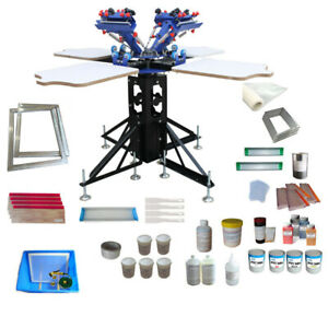 Full Set 4 Color 4 Station Silk Screen Printing Kit With Printing Materials