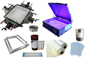Screen Printing Plate Making Machine Kit With Screen Stretcher Exposure Unit