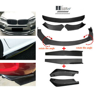 Carbon Fiber Look Side Skirt Rear Lip Front Bumper Spoiler Body Kit Universal