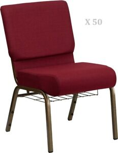 50x Burgundy 21 Wide Stack Church Chairs Gold Frame Book Rack 4 Seat 800 Lb