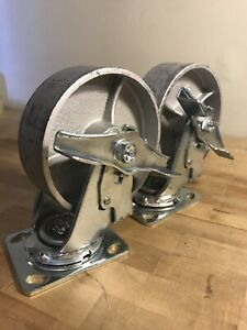 6 Heavy Duty Steel Plate Cast Iron Casters Swivel Metal Industrial Wheel Pair