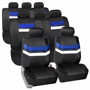 3 Row 8 Seaters Blue Black Seat Covers Full Set For Suv Van Auto
