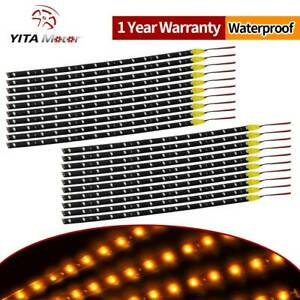 Yitamotor 20x 30cm 15 Led Flexible Strip Light Waterproof Yellow Car Motor Truck