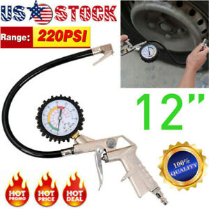 220 Psi Pistol Type Air Chuck With Dial Tire Inflator Gauge