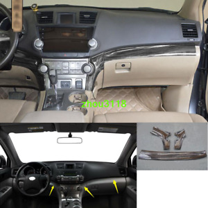 Black Wood Grain Console Center Dashboard Trim For Toyota Highlander 2008 2013