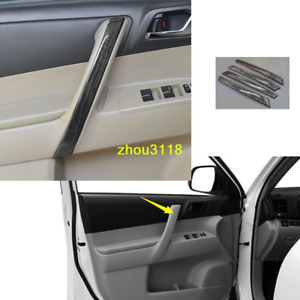 Black Wood Grain Interior Door Handle Cover Trim For Toyota Highlander 2008 2013