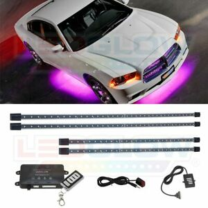 4pc Ledglow Pink Led Wireless Underbody Underglow Neon Accent Lighting Kit