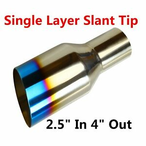 2 5 In 4 Out Polished Stainless Burnt Exhaust Single Layer Slant Tip Blue