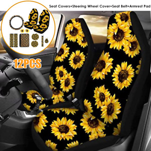 Sunflower Car Seat Cover Steering Wheel Cover Seat Belt Shoulder Pad Key Chain