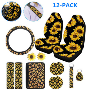 12sunflower Car Seat Cover Steering Wheel Cover Seat Belt Key Chain Armrest Pad