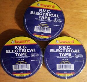 Tape It P v c Electrical Tape Black 71 In X 60 Ft Pack Of 3 Rolls