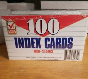 Check Plus 3x5 Inch Ruled Index Cards White Pack Of 100 Lot Of 5