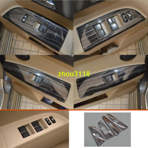 Black Wood Grain Window Glass Lifting Board Trim For Toyota Highlander 2008 2013