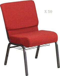50x Crimson Red 21 Wide Stack Church Chairs Silver Frame Book Rack 4 Seat