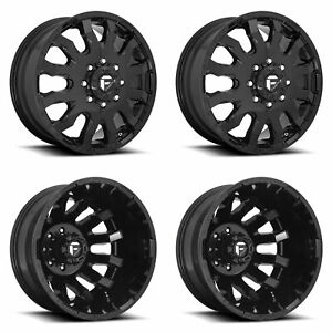 4x D675 G Blk F R Dually Wheels 20 Blk Spline Lugs For Chevy Silverado 3500