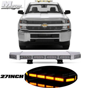 27 Inch Rooftop Led Strobe Light Bar Amber Yellow Flash Emergency Warning Light