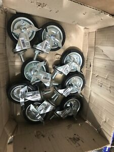 4 In Rubber Swivel Caster With Brake 1 2 Thread Stem Mount Set Of 8 New