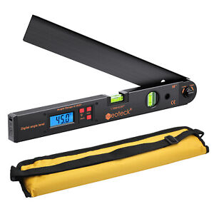 0 225 Digital Lcd Protractor Ruler 400mm Spirit Level Angle Finder Meter Black