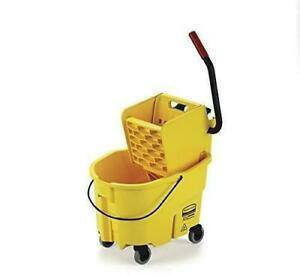 Rubbermaid fg748000yel Wavebrake 26 Qt Side Press Bucket And Wringer