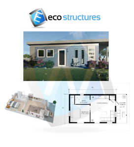 Backyard Office Granny Flat Tiny Home Kit 450 Sq Ft W covered Patio Easy To Diy