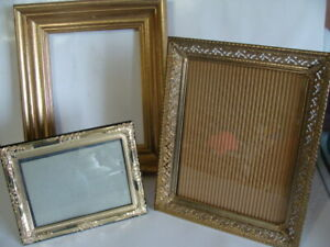 Lot Of 3 Metal Wooden Gold Ornate 8 X10 5 X 7 Picture Frames