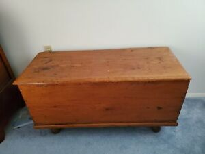 Pine Blanket Chest With Wooden Ball Feet Circa 1930 S