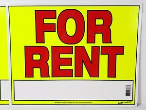 Lot Of 4 Cardboard Neon For Rent Window Signs Bright Yellow Board Red Letters