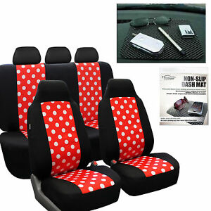 Car Seat Covers Highback Polka Dots Red Black For Girl Free Gift Dash Grip Pad