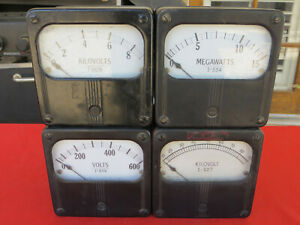 4 Vintage Panel Meters Kilovolts Volts Megawatts Westinghouse Steampunk Gauges