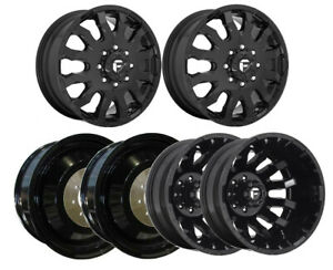D675 G Blk F R I Dually Wheels 20 Chr Spline Lugs For Chevy Silverado 3500hd