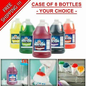 8 Pack your Choice 1 Gallon Syrup Mix Flavors Snow Cone Machine Shaved Ice