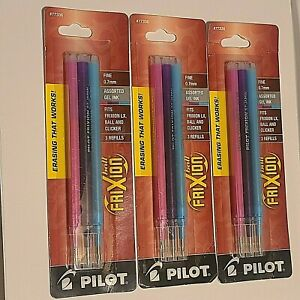 Pilot Frixion Ball Pen Refills Assorted Gel Ink Fine Point 77336 3 Packages