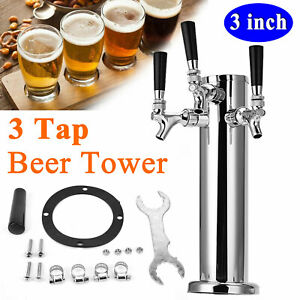 3 Stainless Steel 3 Tap Draft Beer Tower 3 Faucet For Kegerator 14 Height New