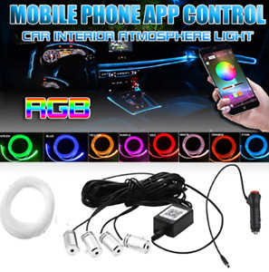 Rgb 4 Led Car Suv Door Dash Ambient Light 6m Neon Strip Bluetooth Phone Control