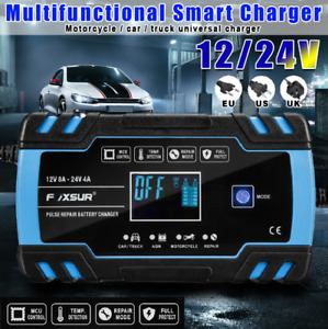 Lcd Car Automatic Smart Battery Charger maintainer 12 24v Pulse Repair Charger