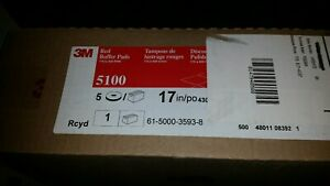 Box Of 5 New 3m 17 Red Buffer 5100 Floor Pads