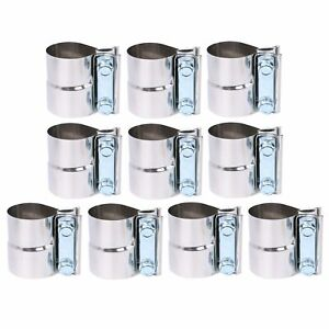 10pcs 2 5 Stainless Steel Lap Joint Exhaust Clamps For Catback Muffler Downpipe