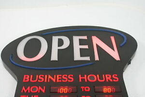 See Notes Newon Led Lighted Business Open Sign Electronic Programmable Black