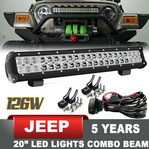 For Jeep Bull Bar 20 Led Bumper Light Bar Front Offroad Driving Lamp Wire Kit