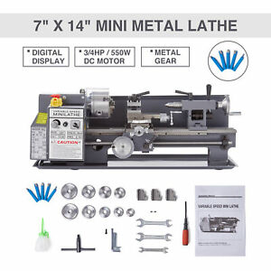 Mini Metal Lathe 7 X 14 2250 Rpm 550w Digital Display Metal Gear W 5 Tools