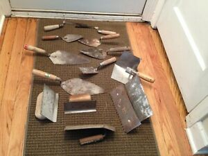 Vintage Cement Concrete Hand Tools Trowels Lot Of 14 Pcs
