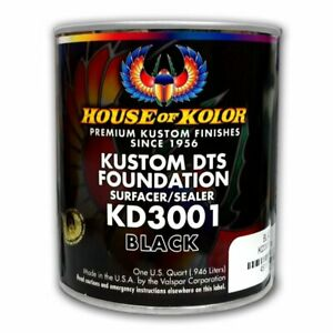 House Of Kolor Kd3001 Kustom Dts Black Primer Surfacer sealer 1 Quart