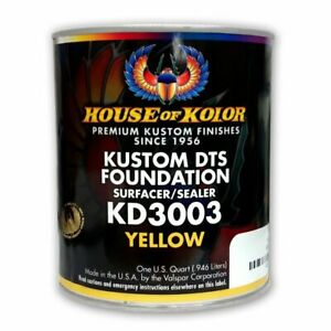 House Of Kolor Kd3003 Kustom Dts Yellow Primer Surfacer sealer 1 Quart