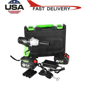 6 0ah 1 2 Cordless Electric Impact Wrench Gun Drill Tool 2x Battery W Carrybox