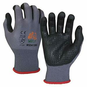 Wolf Work Glove Nitrile Foam Palm Coated With Dots Grips Nylon Shell 3 Pairs New