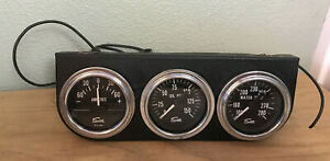Old School Triple Gauge Dash Panel Gauges Sun Hotrod Muscle Car Rat Rod