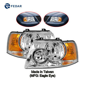 Chrome Headlight Lamp Fit 2003 2004 2005 2006 Ford Expedition Pair Set