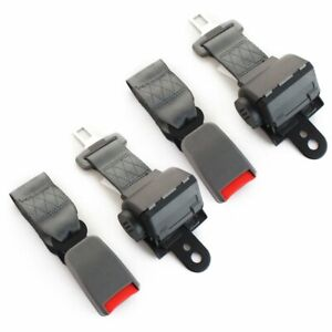 2sets 2 Point Harness Safety Seat Belt Buckle Clip Grey Retractable Universal
