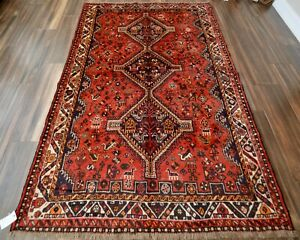 Vintage Hand Knotted Tribal Rug W Geometric Pattern 6 X 9 Red And Black